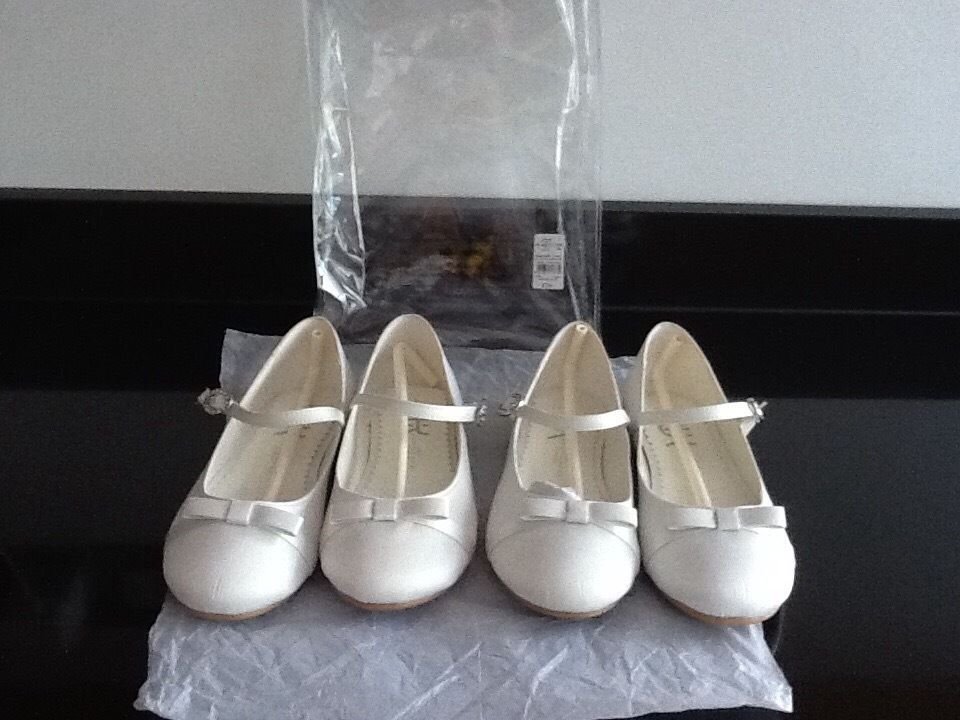 2 x Pairs Bridesmaids Ivory Ballerina Shoes Brand New Size 1