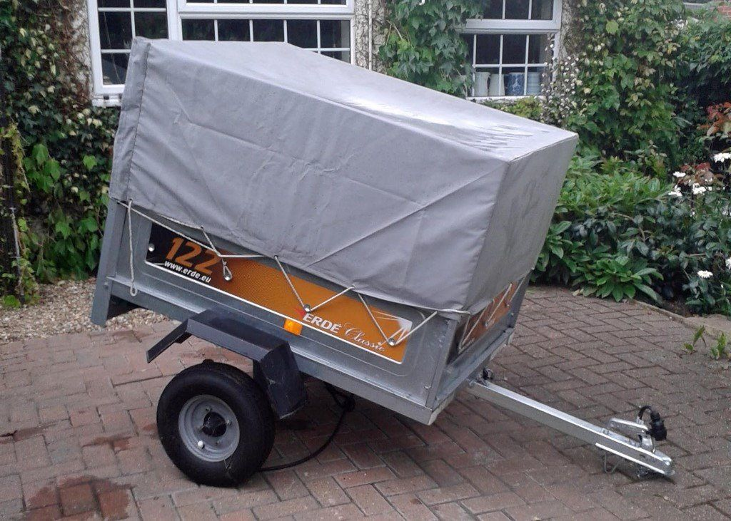 Erde 122 Car Trailer With Extension SIdes and Cover