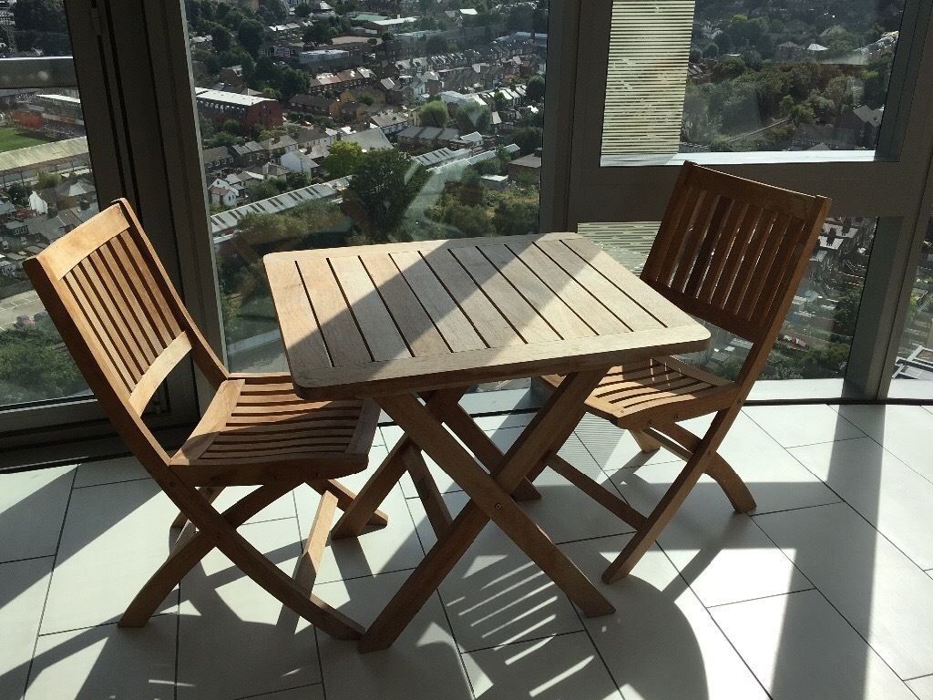 John Lewis : Wooden Patio Table and 2 Matching Chairs HARDLY USED