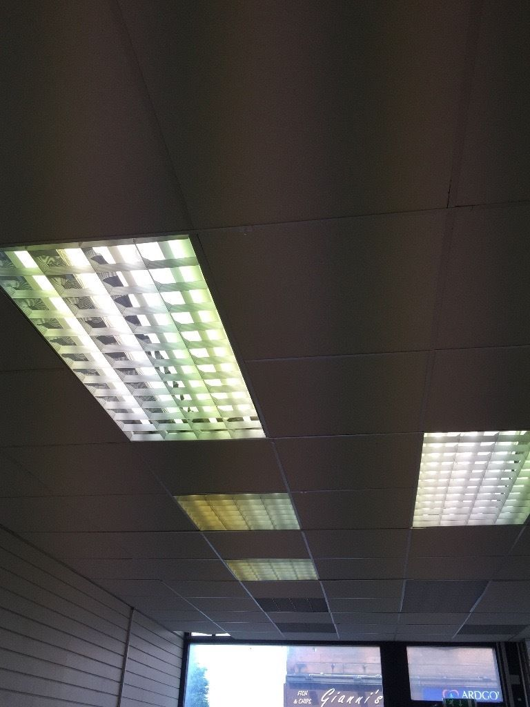 SHOP SUSPENDED CEILING LIGHTS AND TILES.