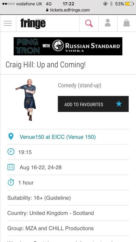 Craig Hill tonight - Tuesday 16th August