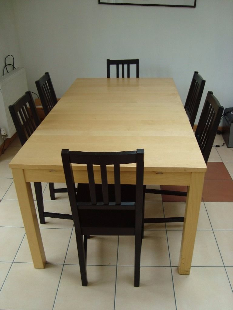 Ikea Birch Finish Table ans 6 Chairs