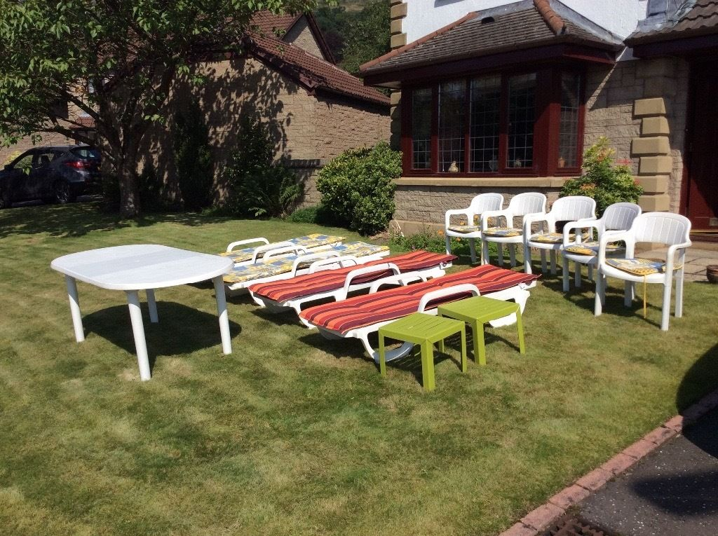 Garden furniture, 4 sunloungers, 2 side tables, dining table, 5 chairs