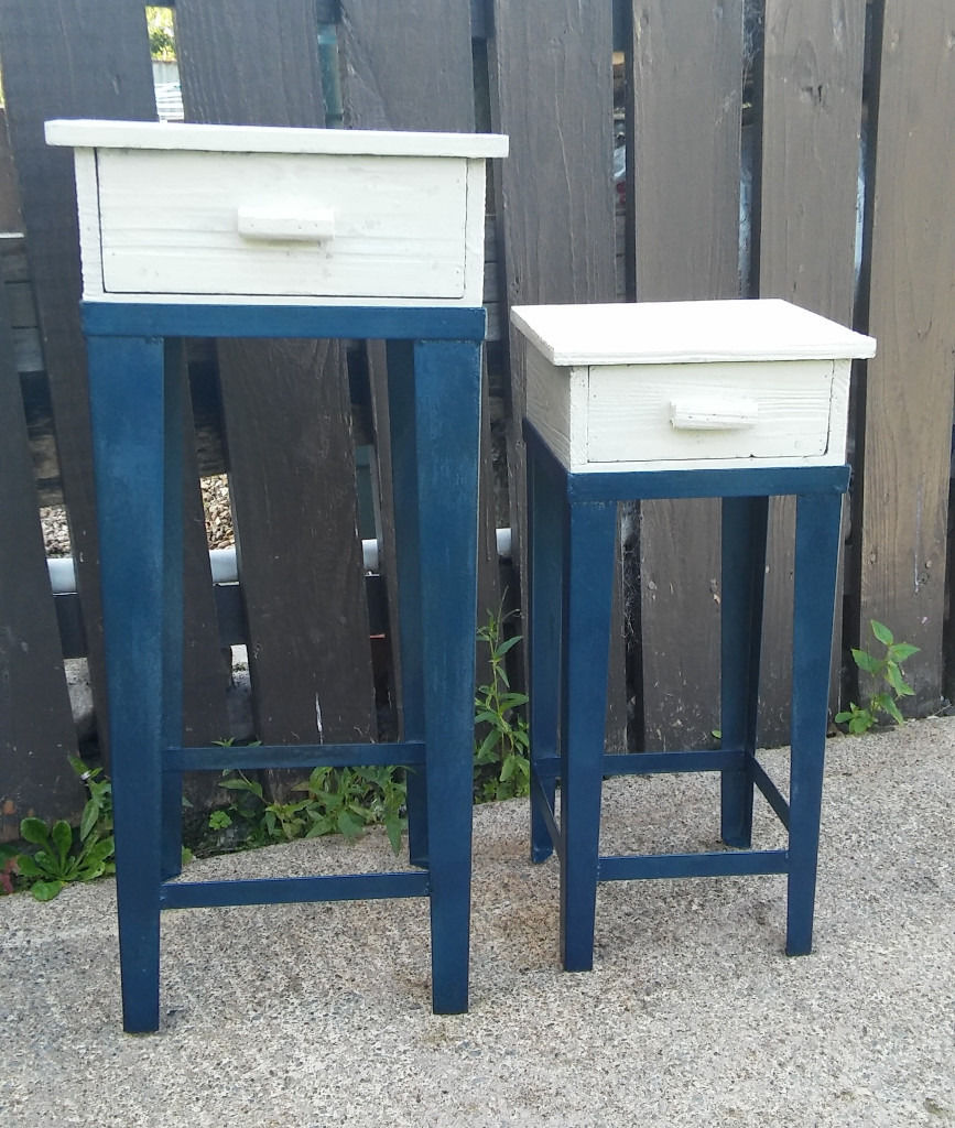 Vintage table stand with drawer 2pcs