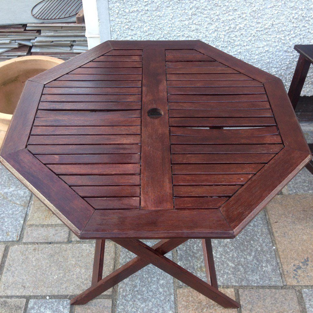 PATIO TABLE HEXAGONAL HARDWOOD