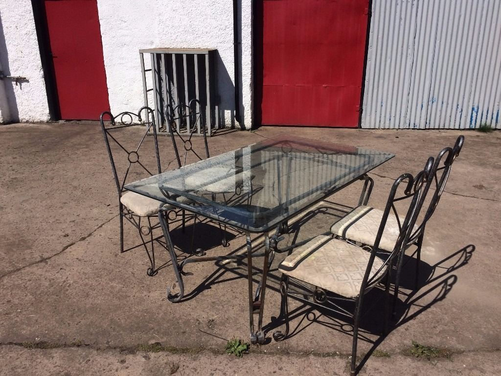 Outdoor or indoor glass table and chairs for sale