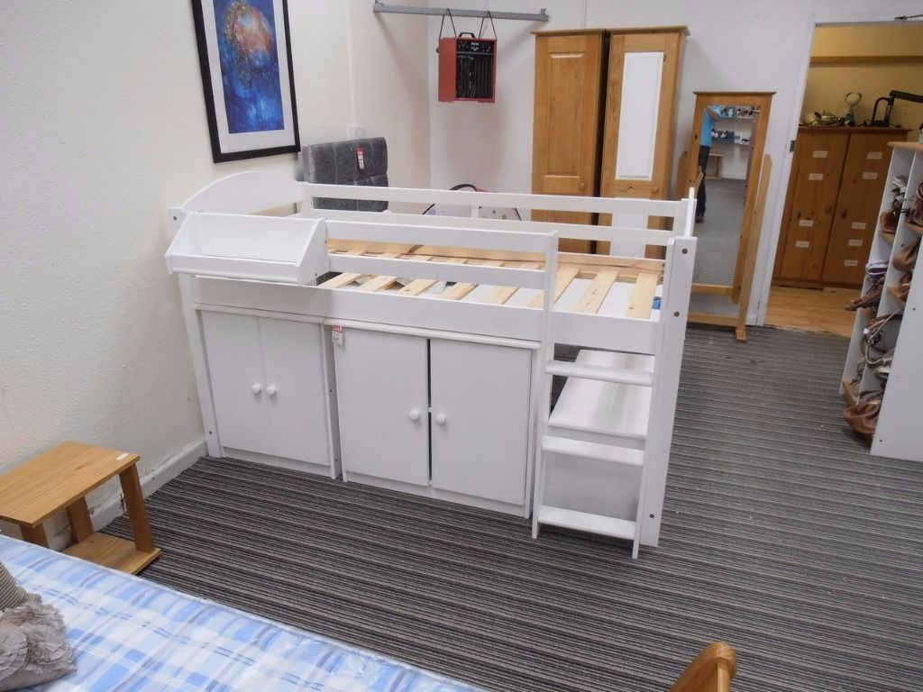 3ft Single, solid pine all white Maximus style midsleeper set: 2 cupboards, shelf and ottoman box