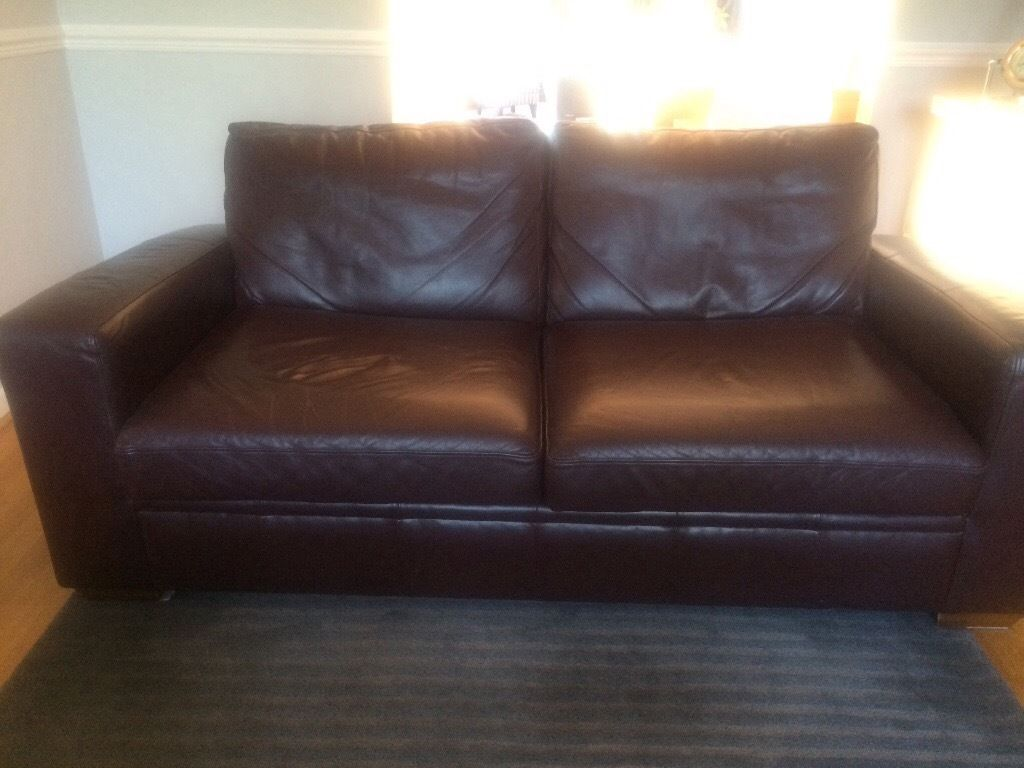 Large leather sofa bed for sale chestnut colour,comfy good condition