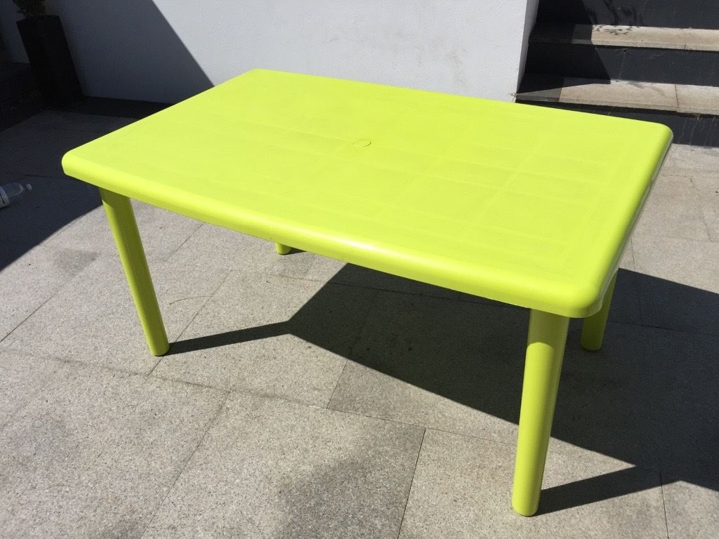 Funky green patio table