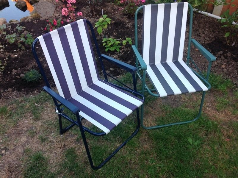 Striped Folding Deck Chairs x 2