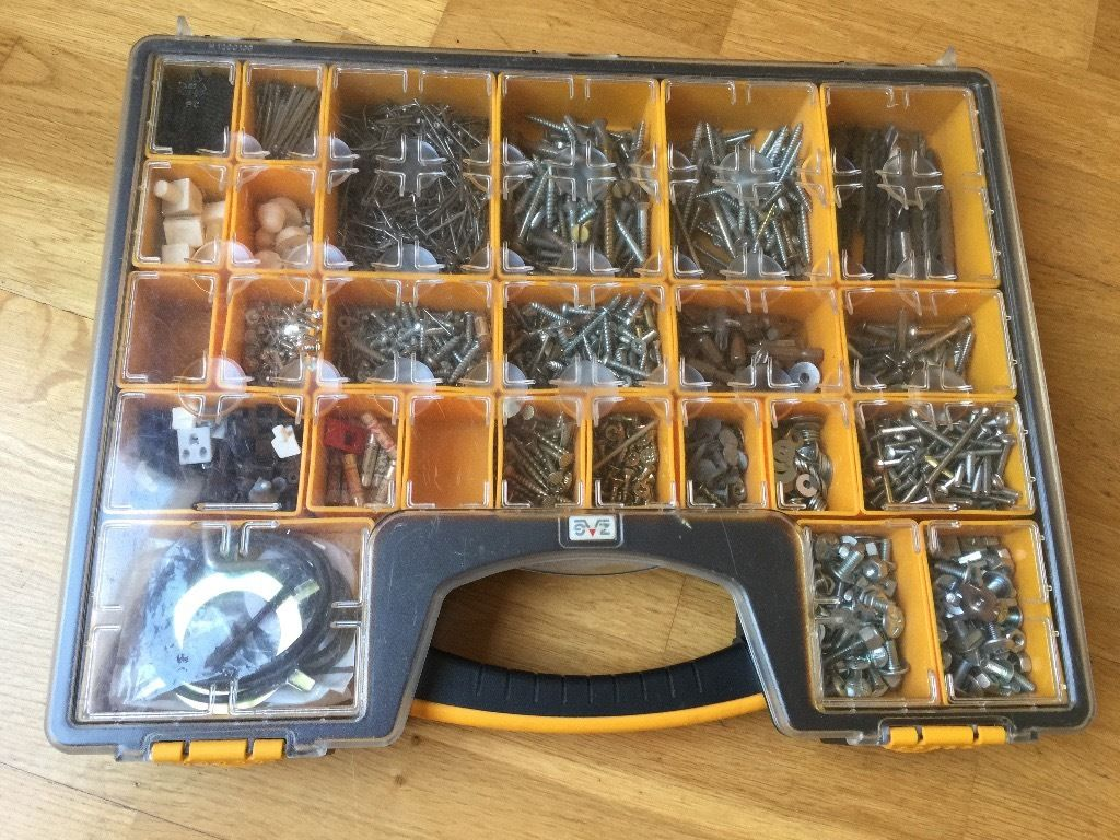 Fabulous Storage Organiser 25 removable pods +100's of fixings screws bolts drills screw bits etc..