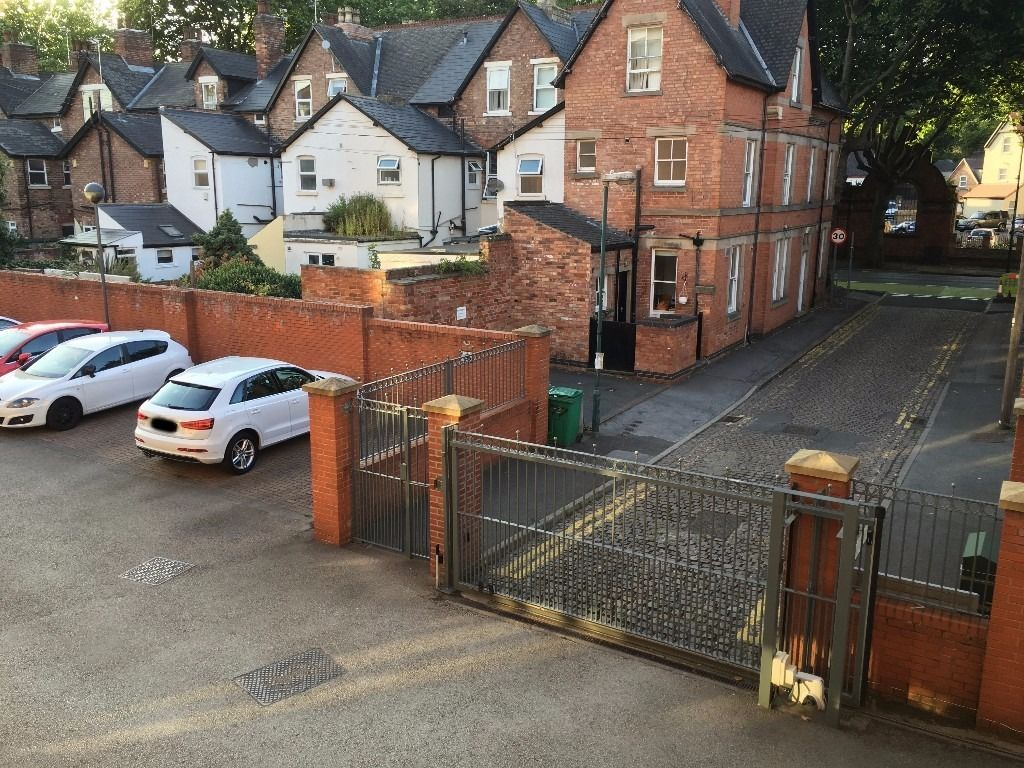 Secure car park space near the city centre, accessible with buzzer