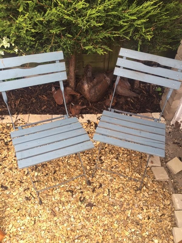 Pair of Wooden Fold Down Garden Chairs