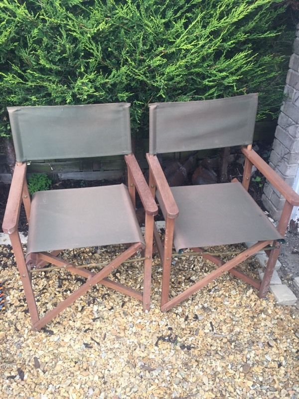 Pair of Wooden Directors Garden Chairs