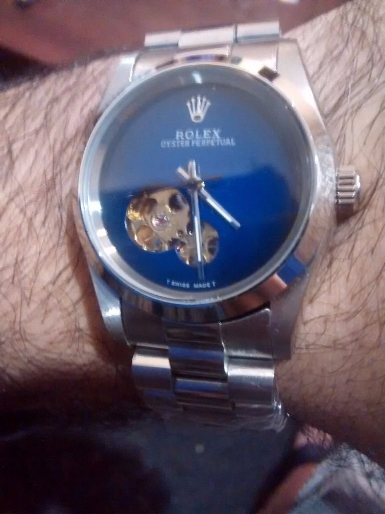 SWISS ROLEX OYSTER SEE THROUGH BACK BLUE FACE