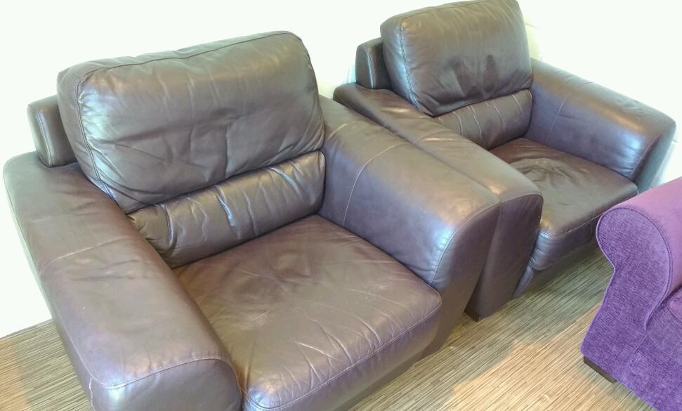 2 Quality Real Leather Armchairs - Brown