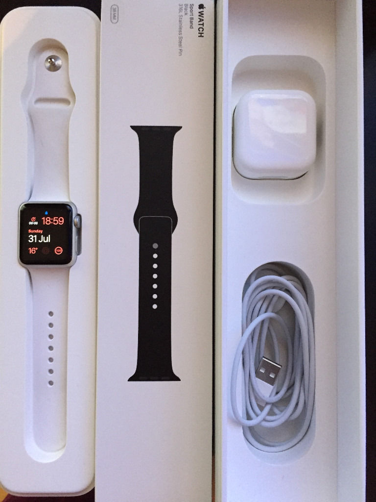 Apple Watch Sport 38mm White and Black Strap Hardly Used