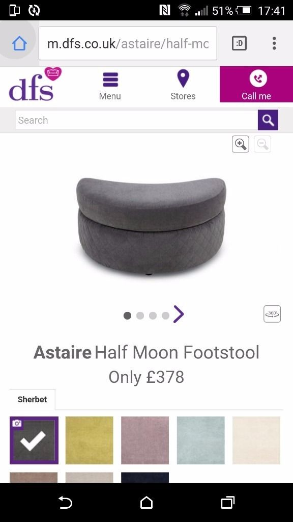 Brand new half moon footstool, astaire range from dfs