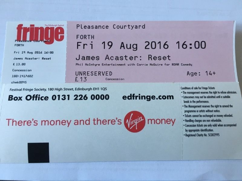 James Acaster Fri 19th Aug 16:00 SOLD OUT Show (Edinburgh Fringe)