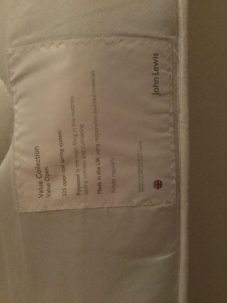 John Lewis double mattress, used as a spare mattress in spare room