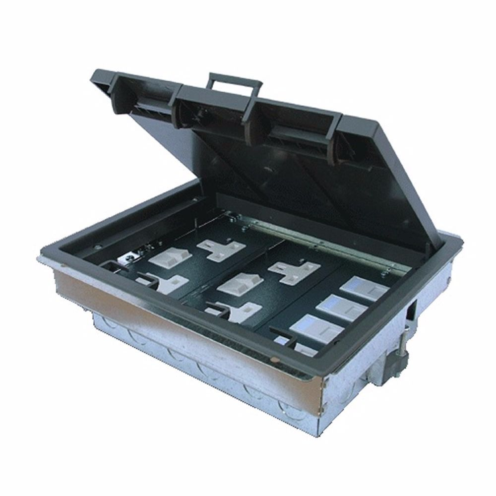 (2 available) 3 Compartment Cavity Floor Box with 4 UK Plug Sockets & Data Sockets