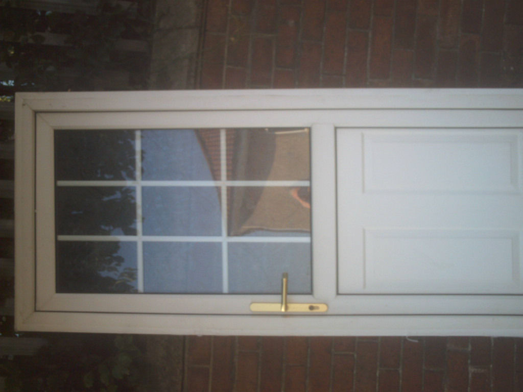 white upvc external door size H 78 in W 33 1/4 in