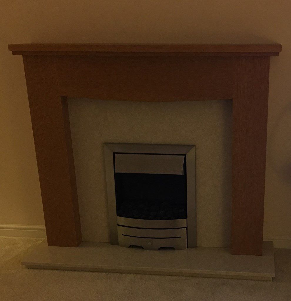 Wood Fireplace with Marble Hearth, Backing and Electric Fire