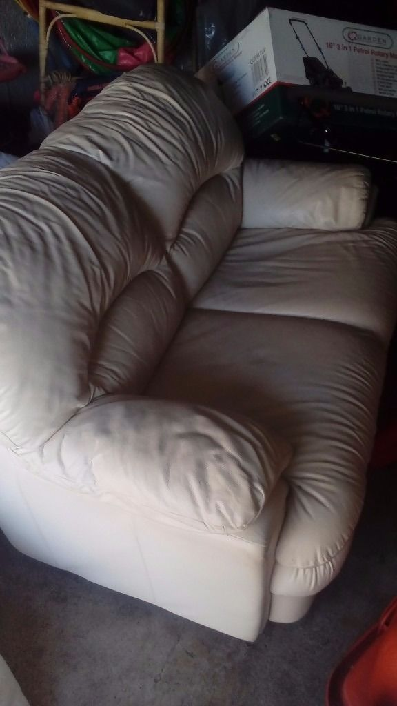 Real leather ivory 2 seater setee