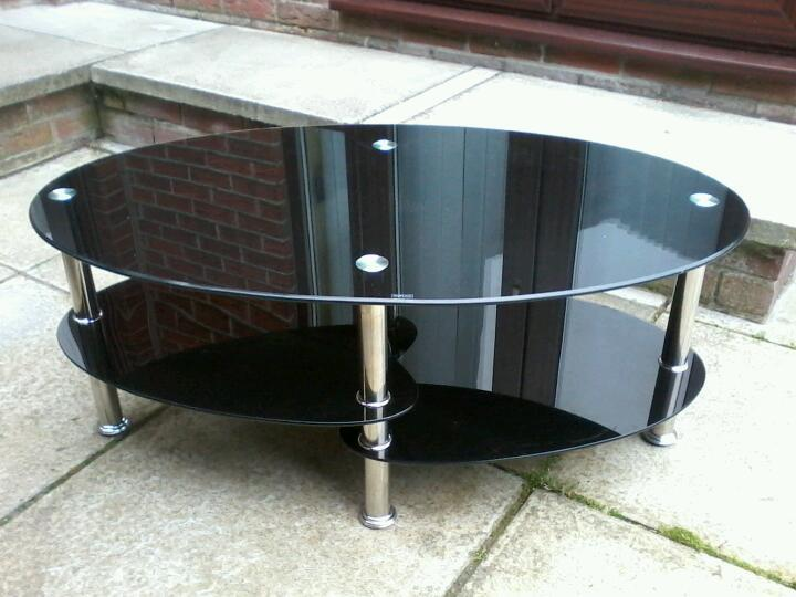 Black and chrome 3 tier tv stand / coffee table