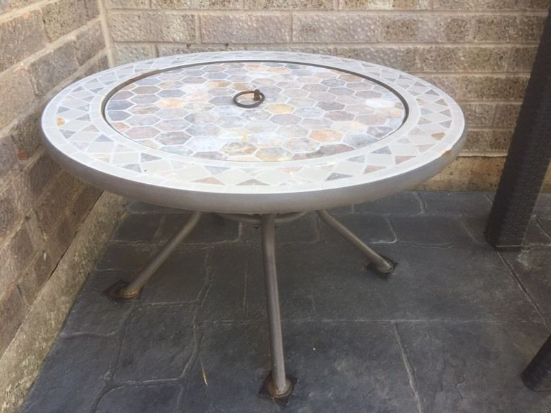 Mosaic tiles fire pit x drinks table