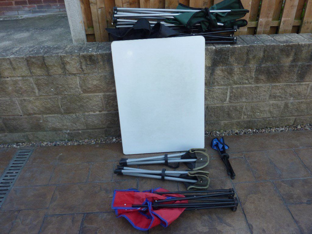 folding picnic table, adult and kids chairs,plus other camping stuff for sale as well