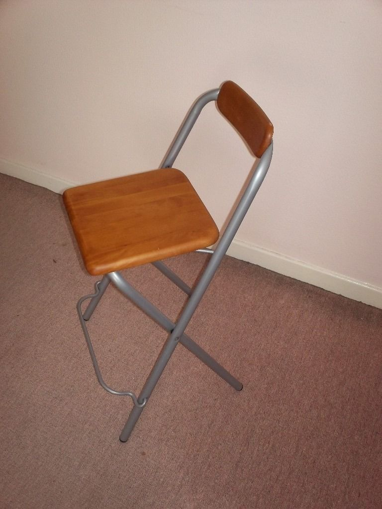Folding Chair - Metal frame, wood seat and back