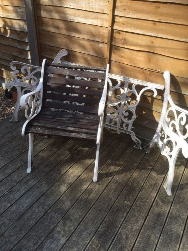 Quality cast iron garden / patio set / table / bench / chairs / very heavy cast iron bench ends £80