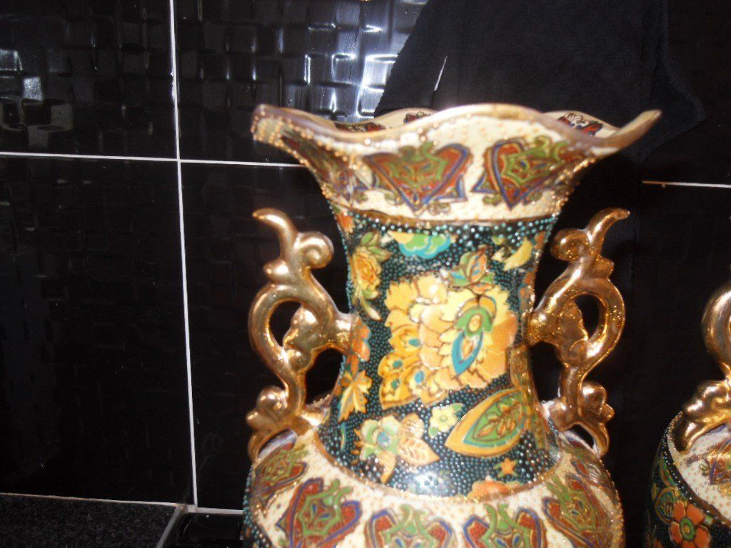 PAIR OF LARGE ORIENTAL VASES - BRILLIANT CONDITION