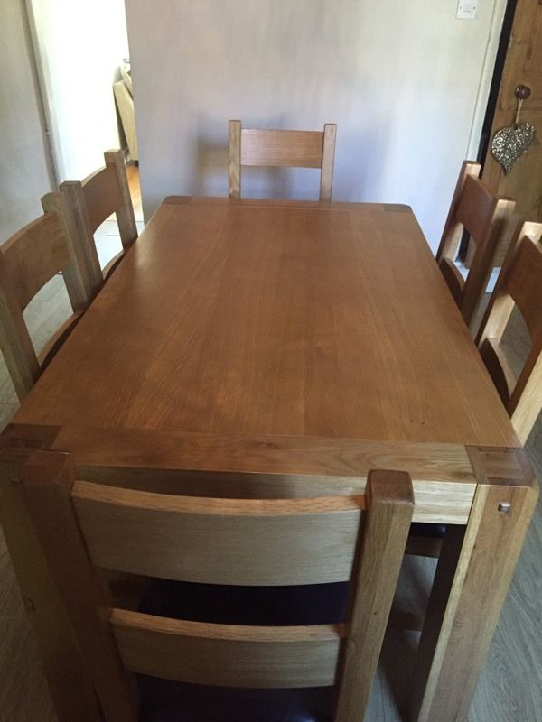 6 seater solid wood dining table.