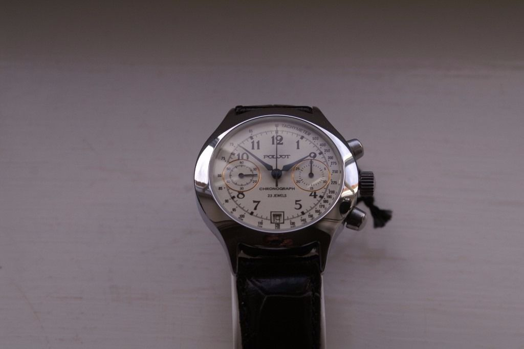 Poljot mechanical manual winding chronograph wristwatch - NOS - Circa 2001 - Russian- White dial