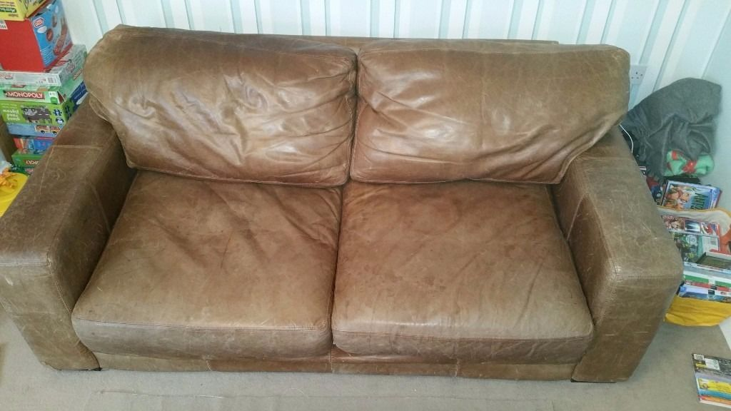 ***Brown 2 seater leather sofa FREE***