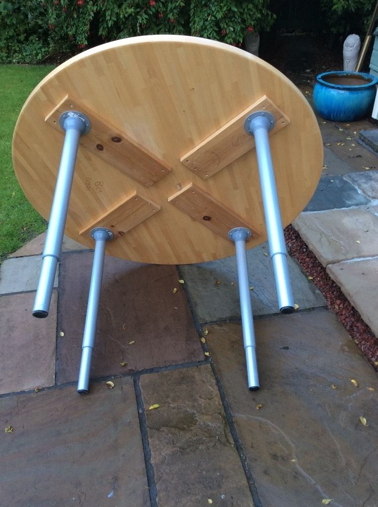 Solid (quite heavy) laminated wood round table etc