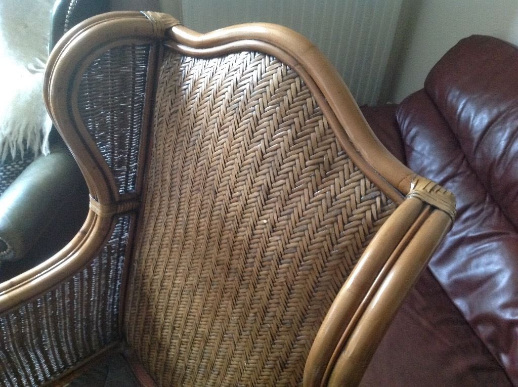 USED RATTAN AND CANE CHAIR FOR SALE,LOVELY CONDITION MAYBE NEEDS A NEW CUSHION COVER £45.CAN DELIVER
