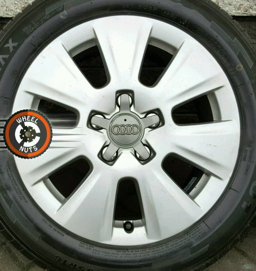 """Excellent 16"""" Genuine Audi alloys with 4 as new matching tyres."""