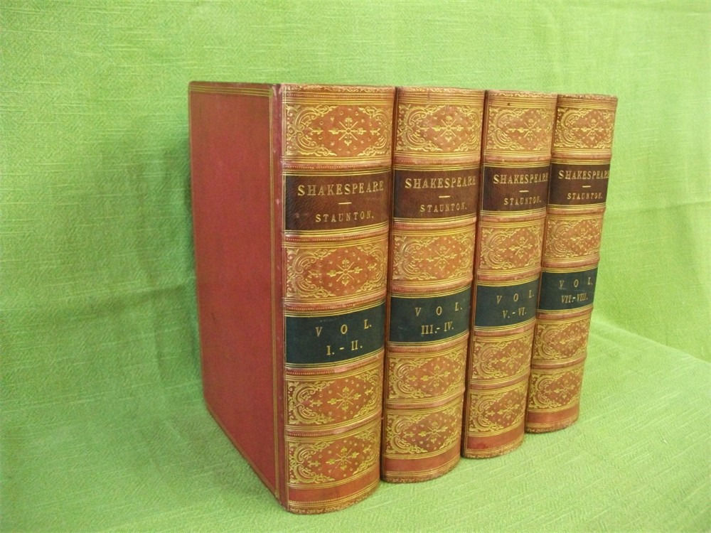WORKS OF WILLIAM SHAKESPEARE; Staunton; 8 vols in 4 bks; Routledge 1869; Leather