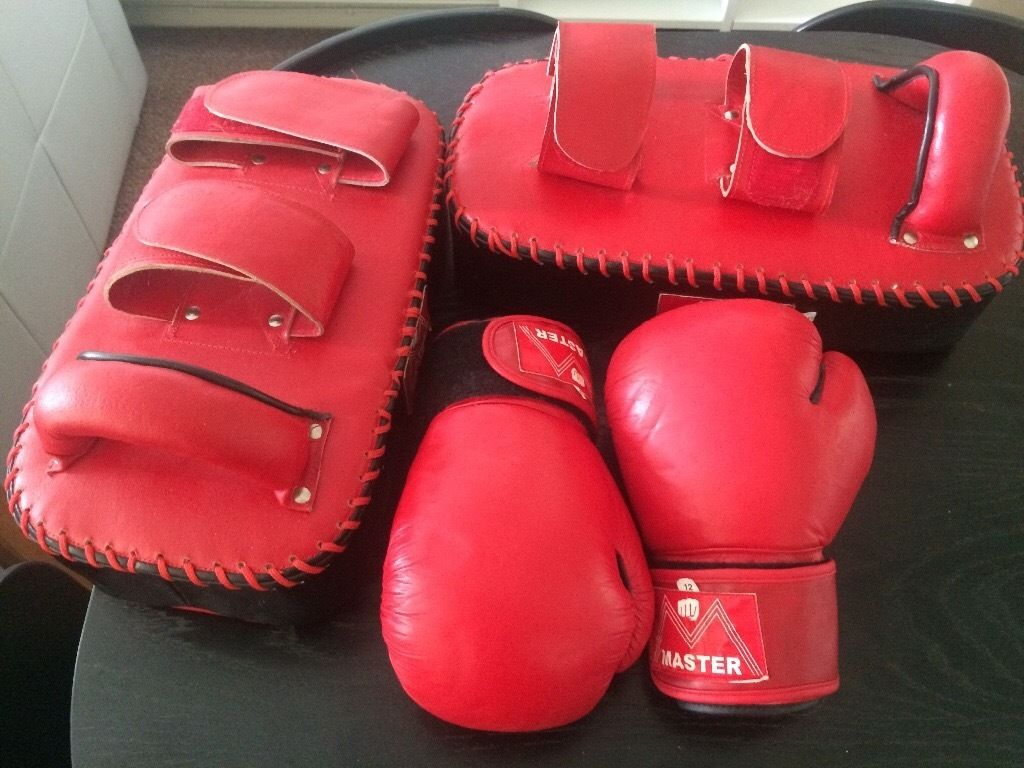 Unisex Master 12oz leather boxing gloves and pads
