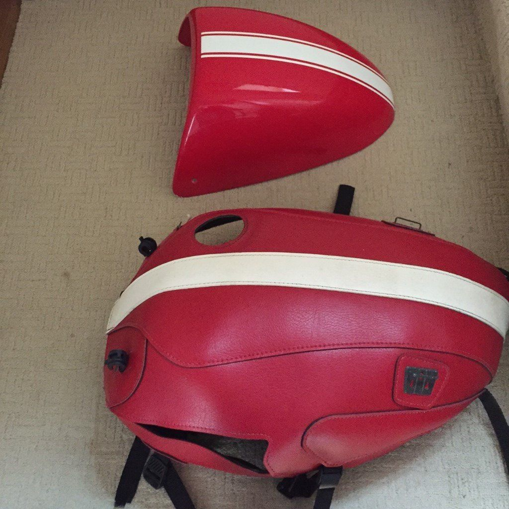 Red & White Baglux Tank Cover & rear seat cover for Triumph Thruxton 900 2008/2014