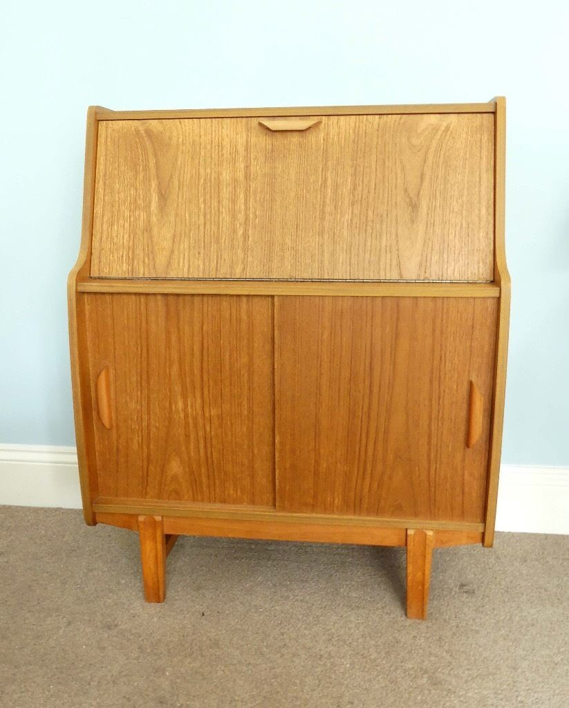 Very unique Vintage / Retro Solid Wood Bureau With original Inserts