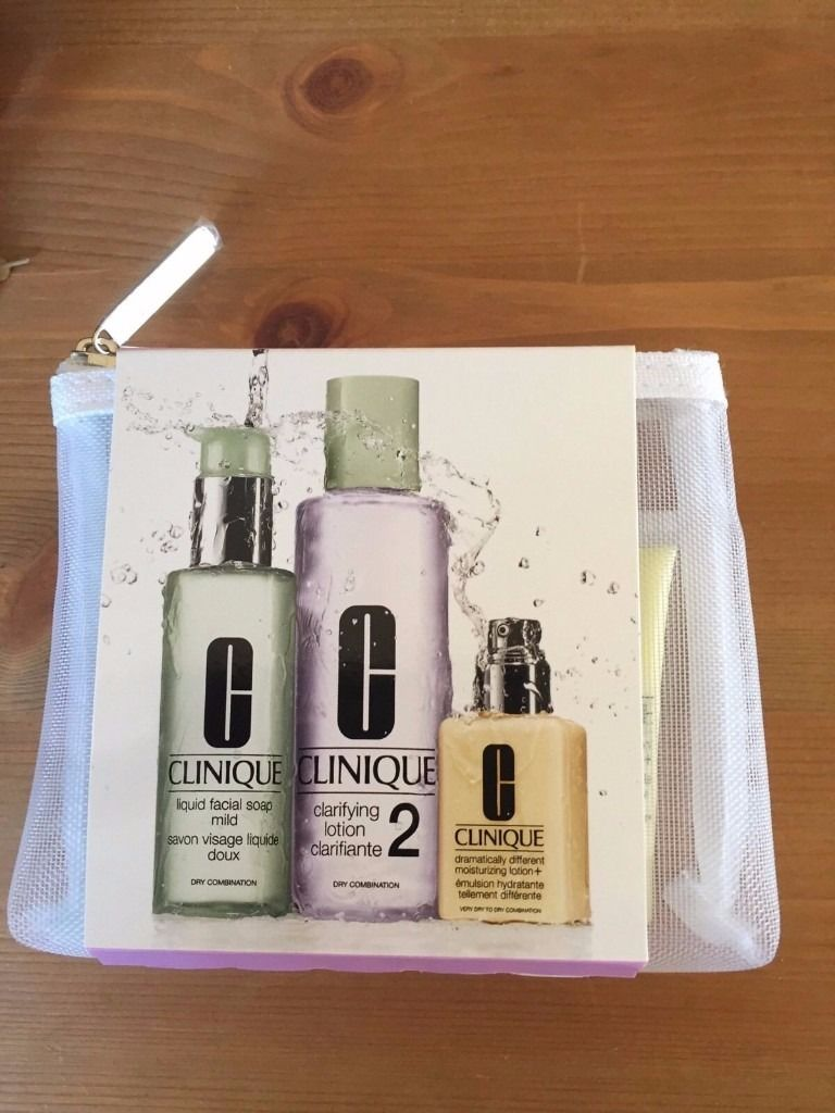 Clinique 3 Step Type 2 Cleansing Trial Kit In Mesh Bag, #Dry Combination, BNWT