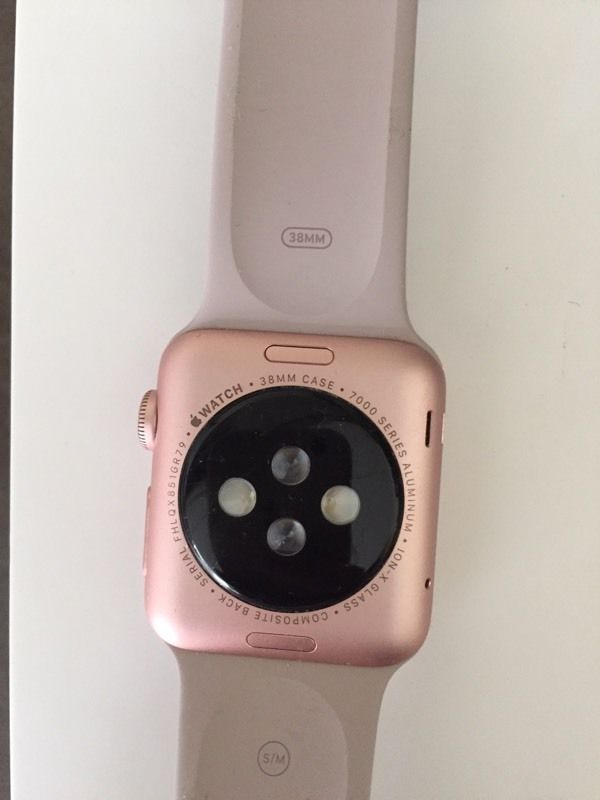 Apple Watch 38mm Rose Gold case.