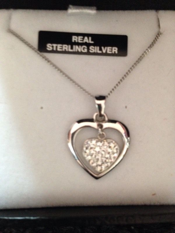 Real sterling silver heart necklace