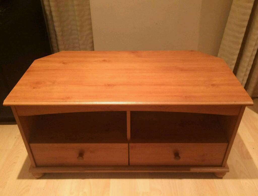 Wooden TV Stand with two drawers.