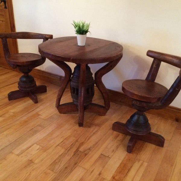 Stunning Solid wood table + two chairs