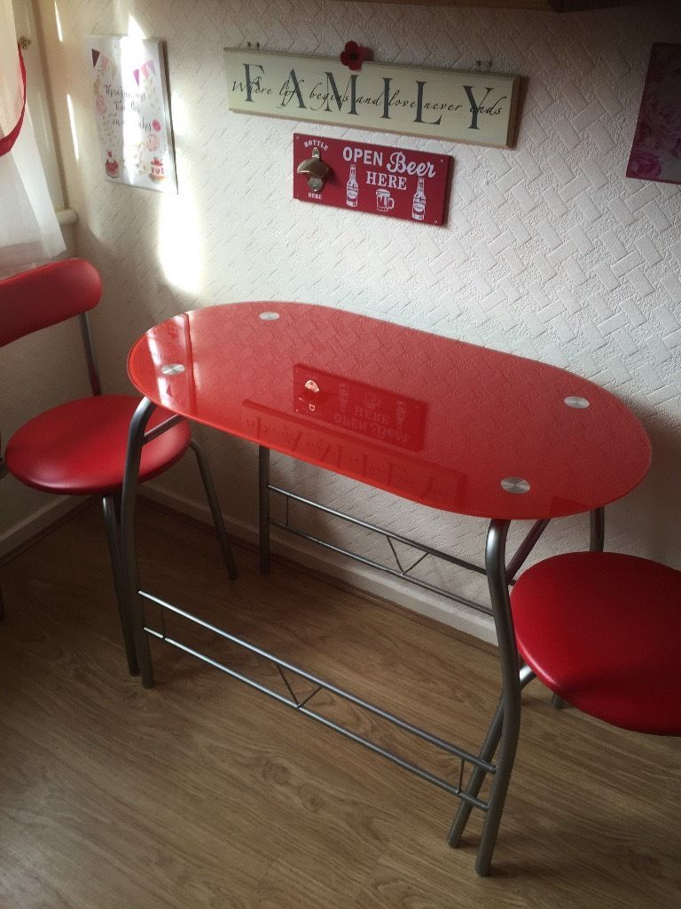 Red glass bistro table & chairs